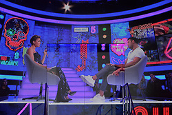 Winner Ryan Thomas is interviewed by Emma Willis during the live final of Celebrity Big Brother at Elstree Studios, Hertfordshire.