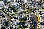Nederland, Noord-Holland, Amsterdam, 27-09-2015; Binnenstad van Amsterdam, grachtengordel ter hoogte van Leidsestraat (boven in beeld).  Herengracht en  Keizersgracht (rechts). De grachten worden doorsneden door de Leidsegracht.<br /> Crossing canals, belt of Canals, Amsterdam City Centre.<br /> <br /> luchtfoto (toeslag op standard tarieven);<br /> aerial photo (additional fee required);<br /> copyright foto/photo Siebe Swart