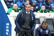 Brighton Manager Chris Hughton during the Sky Bet Championship match between Brighton and Hove Albion and Norwich City at the American Express Community Stadium, Brighton and Hove, England on 3 April 2015. Photo by Phil Duncan.
