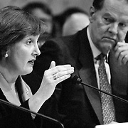 "Commissioner Jamie Gorelick questioning New York City Mayor Rudolph ""Rudy"" Guiliana during the 9/11 Commission's 11th Public Hearing, New School University, New York."