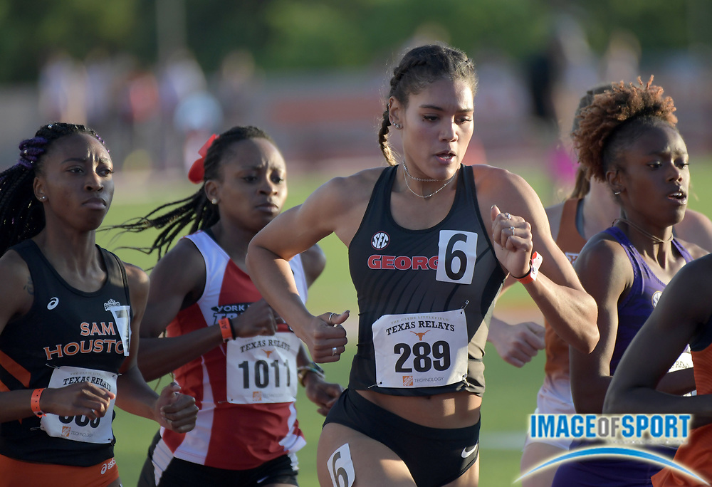 Mar 29, 2018; Austin, TX, USA; Amber Tanner of Georgia places sixth in a women's 800m heat in 2:10.04 during the 91st Clyde Littlefield Texas Relays at Mike A. Myers Stadium.