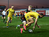 Rugby Union - 2020 / 2021 European Rugby Heineken Champions Cup - Round of 16 - Gloucester vs La Rochelle - Kingsholm<br /> <br /> La Rochelle's Dillyn Leyds scores his sides first try.<br /> <br /> COLORSPORT/ASHLEY WESTERN