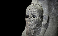 Hittite sphinx sculpture of one of the 4 sphinx's from the Sphinx gate of Hattusa, New Hittite Kingdom, 13th cent BC , Bogazkale archaeological Museum, Turkey. Against black
