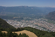 Seen from Colle-Kohlern lookout tower, an aerial landscape of the northern Italian south Tyrolean city of Bozen-Bolzano.