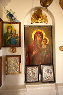 Madonna, Virgin Mary, Icons Interior of the the  17th Century Byzantine Greek Orthodox Monastery of Agia Anna ( St Anne) 17th Century .<br /> <br /> Visit our GREEK HISTORIC PLACES PHOTO COLLECTIONS for more photos to download or buy as wall art prints https://funkystock.photoshelter.com/gallery-collection/Pictures-Images-of-Greece-Photos-of-Greek-Historic-Landmark-Sites/C0000w6e8OkknEb8