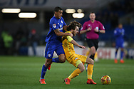 Ben Pearson of Preston NE is held back by Lee Peltier of Cardiff city. EFL Skybet championship match, Cardiff city v Preston North End at the Cardiff city stadium in Cardiff, South Wales on Friday 29th December 2017.<br /> pic by Andrew Orchard, Andrew Orchard sports photography.