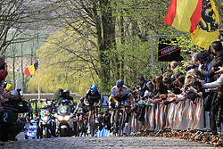 The lead group with Luke Rowe (WAL) Team Sky, Matteo Trentin (ITA) Mitchelton-Scott, Mike Teunissen (NED) Jumbo-Visma, Peter Sagan (SVK) Bora-Hansgrohe and Edward Theuns (BEL) Trek-Segafredo on the 2nd ascent of the Kemmelberg during the 2019 Gent-Wevelgem in Flanders Fields running 252km from Deinze to Wevelgem, Belgium. 31st March 2019.<br /> Picture: Eoin Clarke | Cyclefile<br /> <br /> All photos usage must carry mandatory copyright credit (© Cyclefile | Eoin Clarke)