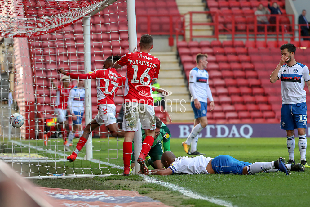 Charlton Athletic players celebrate after Rochdale attacker Calvin Andrew (9) own goal during the EFL Sky Bet League 1 match between Charlton Athletic and Rochdale at The Valley, London, England on 4 May 2019.