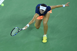 WUHAN, Sept. 24, 2017 Duan Yingying of China returns the ball during the singles' first round match against Elena Vesnina of Russia  at 2017 WTA Wuhan Open in Wuhan, capital of central China's Hubei Province, on Sept. 24, 2017. Duan lost 0-2.  wll) (Credit Image: © Ou Dongqu/Xinhua via ZUMA Wire)