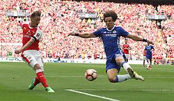 27 May 2017 Wembley : FA Cup Final - Arsenal v Chelsea :<br /> David Luiz of Chelsea blocks a shot by Mesut ozil.<br /> Photo: Mark Leech