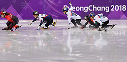 February 17, 2018 - Gangneung, South Korea - Short track skater Sandor Liu of Hungary crashes into Yira Seo of Korea and Hyojun Lim of Korea as Samuel Girard of Canada, John-Henry Krueger of the United States compete in the Men's Short Track Speed Skating 1000M finals at the PyeongChang 2018 Winter Olympic Games at Gangneung Ice Arena on Saturday February 17, 2018. (Credit Image: © Paul Kitagaki Jr. via ZUMA Wire)