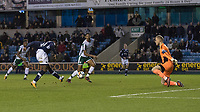 Football - 2017 / 2018 FA Cup - Third Round: Millwall vs. Barnsley<br /> <br /> Fred Onyedinma (Millwall FC) slides in his teams fourth goal past Adam Davies (Barnsley FC) at The Den.<br /> <br /> COLORSPORT/DANIEL BEARHAM