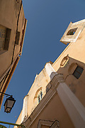 Low angle view of building fragment, Calvi, Corsica, France