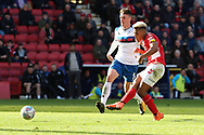Charlton Athletic attacker Lyle Taylor (9) scoring goal during the EFL Sky Bet League 1 match between Charlton Athletic and Rochdale at The Valley, London, England on 4 May 2019.