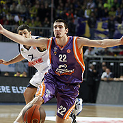 Power Electronics Valencia's Nando De COLO (R) during their Euroleague Basketball Top 16 Game 2 match Fenerbahce Ulker between Power Electronics Valencia at Sinan Erdem Arena in Istanbul, Turkey, Thursday, January 27, 2011. Photo by TURKPIX