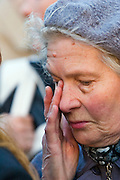 Moscow, Russia, 24/04/2007..The body of former Russian President Boris Yeltsin lies in state in the Cathedral of Christ the Saviour as mourners visit to pay their last respects. A woman weeps while waiting in line outside the cathedral.