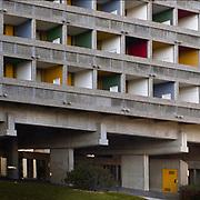 Paris, France,  2004: Exterior view of Brise Soleil - Facade North- Maison du Brésil (1953-1959), at Citè Universitaire in boulevard Jourdan 7, Paris, France - Le Corbusier and Lucio Costa architects - . Photographs by Alejandro Sala