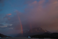 Early Morning Rainbow, Lago Grey, Torres del Paine, Chile. Image taken with a Nikon D3s and 28-120 mm f/4 lens (ISO 200, 31 mm, f/5.6). HDR composite of 4 images using Photoshop CS5 HDR Pro