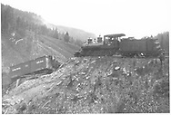 """RGS 2-8-0 #10 was a pusher on a freight when Gallagher trestle 57-A collapsed.<br /> RGS  MP 57, CO  10/1906<br /> In book """"Southern, The: A Narrow Gauge Odyssey"""" page 63<br /> See RD155-040 & RD155--043 for related photos."""