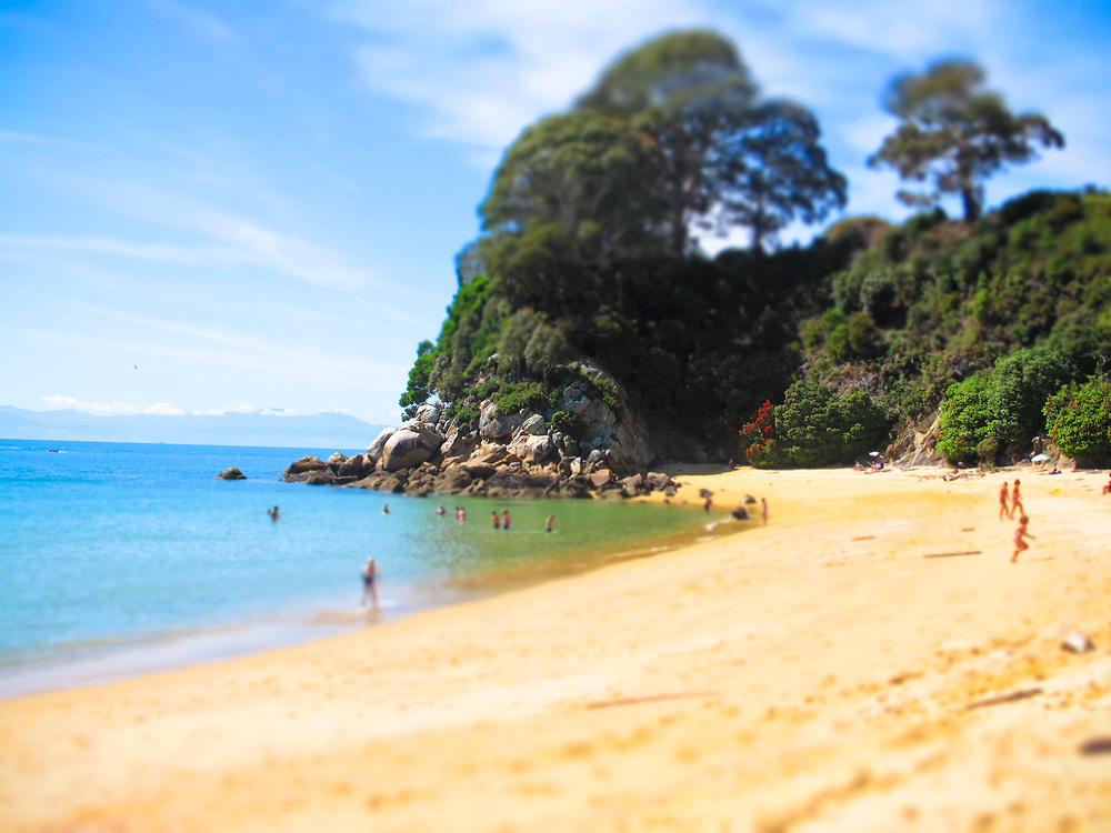 tilti shift effect on golden beach Golden sand beach a few minutes west of Kaiteriteri beach,Tasman Nelson