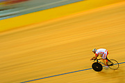 A Netherlands' rider rides his bicycle in Laoshan Velodromme during the Beijing 2008 Olympics, on August 17, 2008, in Beijing, China. Photo by Lucas Schifres/Pictobank/Cameleon/ABACAPRESS.COM