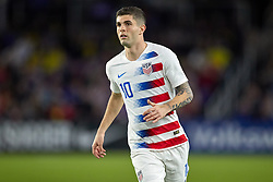 March 21, 2019 - Orlando, FL, U.S. - ORLANDO, FL - MARCH 21: United States midfielder Christian Pulisic (10) looks on in game action during an International friendly match between the United States and Ecuador on March 21, 2019 at Orlando City Stadium in Orlando, FL. (Photo by Robin Alam/Icon Sportswire) (Credit Image: © Robin Alam/Icon SMI via ZUMA Press)