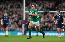 Irelands Jacob Stockdale scores his side's first try of the game during the NatWest Six Nations match at the Aviva Stadium, Dublin.