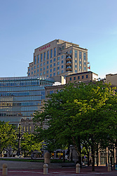 13 May 2013:  Standing behind the Emmis Communications building is the Conrad, which has rooms with outdoor terraces on the upper floors. Indianapolis Indiana