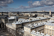Views of the city of Paris taken from the towers of Notre Dame - looking north towards Montmatre and Sacre Coeur in the distance.