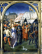 Shrine (Reliquary) of St Ursula, 1489. Gilded, painted wood. Hans Memling (1430/1440-1494) South Netherlandish painter.  St Ursula (4th century) martyred by Huns at Cologne. Pilgrimage Christian  Dog Fidelity Tent Archer