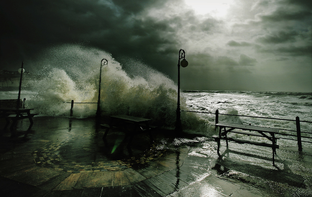 Stormy weather at Freshwater Bay, Isle of Wight. .