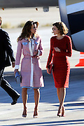 MADRID, SPAIN, 2015, NOVEMBER 19 <br /> <br /> Kings Felipe and Letizia official reception King Abdullah and Queen Rania<br /> <br /> Kings Felipe and Letizia, Official welcome at the airport of Madrid to Their Majesties, The King of Jordan Abdullah II bin al-Hussein and Queen Rania, on his working visit to Spain<br /> ©Exclusivepix Media