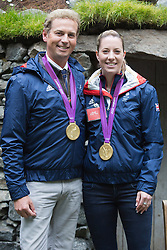 © Licensed to London News Pictures. 20/05/2013. London, England. Gold medallists Carl Hester and Charlotte DuJardin. at the Motor Neurone Disease garden Celebrities at Press Day Monday of the RHS Chelsea Flower Show. Photo credit: Bettina Strenske/LNP