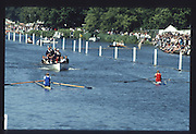 Henley on Thames. United Kingdom. left NZL M1X Eric VERDONK and right, BEL M1X, Wim VAN BELLEGHEM, 1990 Henley Royal Regatta, Henley Reach, River Thames. 06/07.1990<br /> <br /> [Mandatory Credit; Peter SPURRIER/Intersport Images] 1990 Henley Royal Regatta. Henley. UK