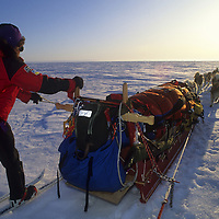 Will Steger mushes across frozen Great Slave Lake, NWT, Canada.