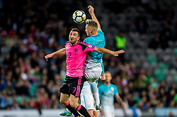 James McArthur of Scotland vs Jasmin Kurtic of Slovenia during football match between National Teams of Slovenia and Scotland of Fifa 2018 World Cup European qualifiers, on October 8, 2017 in SRC Stozice, Ljubljana, Slovenia. Photo by Vid Ponikvar / Sportida