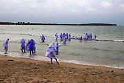 Muslim girls bathing in their clothes, Pasikudah Bay, Eastern Province, Sri Lanka, Asia