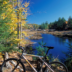 A mountain bike rests at a beaver pond next to the Shaw Trail in Pawtuckaway State Park.  Deerfield, NH
