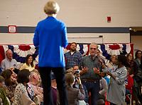 Senator Elizabeth Warren during campaign town hall at Laconia Middle School.  Karen Bobotas for the Laconia Daily Sun
