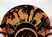 Masters and pupils at the Athenian school where studies included music. Greek red figure vessel . Staatliche Museum Berlin