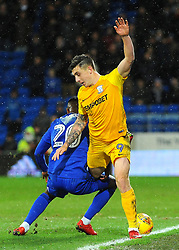 Jordan Hugill of Preston North End is fouled by Loic Damour of Cardiff City- Mandatory by-line: Nizaam Jones/JMP - 29/12/2017 -  FOOTBALL - Cardiff City Stadium - Cardiff, Wales -  Cardiff City v Preston North End - Sky Bet Championship
