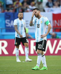 KAZAN, June 30, 2018  Lionel Messi (R) of Argentina reacts during the 2018 FIFA World Cup round of 16 match between France and Argentina in Kazan, Russia, June 30, 2018. (Credit Image: © Li Ming/Xinhua via ZUMA Wire)