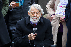 © Licensed to London News Pictures. 23/02/2018. London, UK. Labour MP Paul Flynn speaks to protesters opposite Parliament in support of the legalisation of cannabis for medicinal use while MPs debate the issue in The House of Commons. Photo credit: Rob Pinney/LNP
