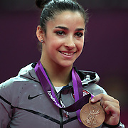 Alexandra Raisman, USA, after her Bronze medal performance in the Women's Gymnastics Apparatus Beam final at North Greenwich Arena during the London 2012 Olympic games London, UK. 7th August 2012. Photo Tim Clayton