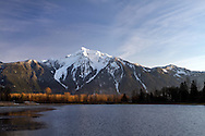 Late afternon light on Mount Cheam from Seabird Island (Sq'éwqel) in Agassiz, British Columbia, Canada