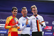 Podium, Jonathan Castroviejo (Spain) silver medal , Victor Campenaerts (Belgium) gold medal and Maimilian Schachmann (Germany) bronze medal during the Road Cycling European Championships Glasgow 2018, in Glasgow City Centre and metropolitan areas Great Britain, Day 7, on August 8, 2018 - Photo Laurent Lairys / ProSportsImages / DPPI