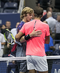 September 6, 2017 - Flushing Meadows, New York, U.S - Rafael Nadal (right) shakes hands after winning his match on Day Ten of the 2017 US Open against Andrey Rublev at the USTA Billie Jean King National Tennis Center on Wednesday September 5, 2017 in the Flushing neighborhood of the Queens borough of New York City. 6-1, 6-2, 6-2. JAVIER ROJAS/P (Credit Image: © Prensa Internacional via ZUMA Wire)