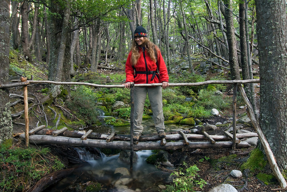Hiker gazing down at a stream from a footbridge in Torres Del Paine National Park, Chile.