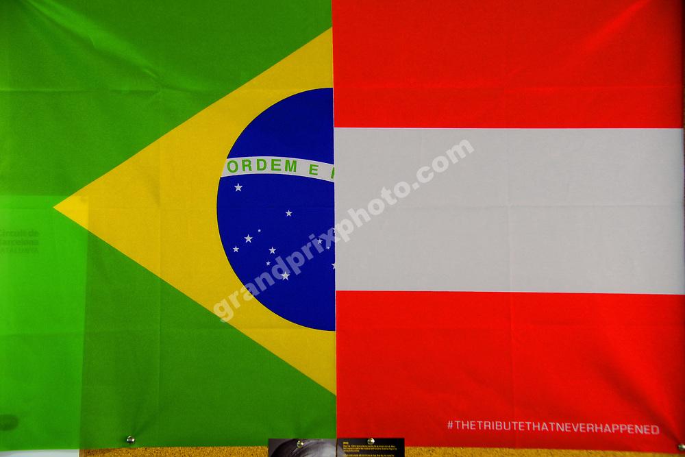 Tribute flag of Ayrton Senna and Roland Ratzenberger before the 2019 Spanish Grand Prix at the Circuit de Barcelona-Catalunya. Photo: Grand Prix Photo
