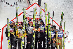 10.12.2011, Harrachov, CZE, Team Ski jumping Competition: 2nd placed Team of Austria, winning Team of Norway and third placed Team of Slovenia (Jernej Damjan, Jure Sinkovec, Peter Prevc and Robert Kranjec)  during ski jumping Team Competition men at FIS ski jumping Worldcup at Harrachov, Czechia on 2011/12/10. EXPA Pictures © 2011, PhotoCredit: EXPA/ Newspix/ Jerzy Kleszcz..***** ATTENTION - for AUT, SLO, CRO, SRB, SUI and SWE only *****